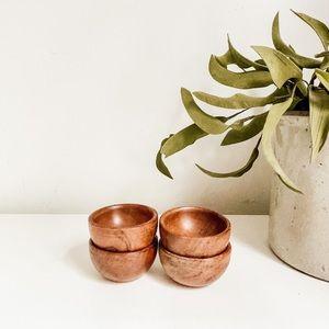 Set of 4 small wood bowls